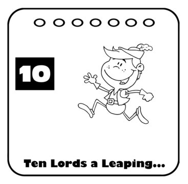 Outlined Twelve Days Of Christmas Calendar 10