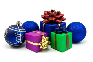 christmas baubles and gifts boxes on white background