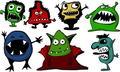 Set of cartoon monsters