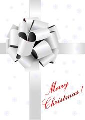 Christmas illustration of a gray ribbon