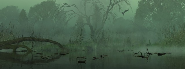 Foto auf Acrylglas Khaki Landschaft im Nebel