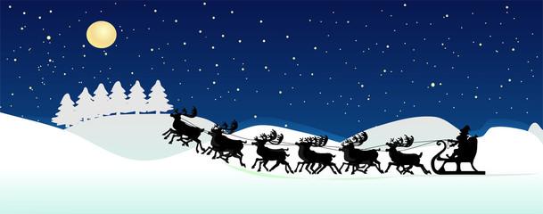 Weihnachtshintergrund mit Rentierschlitte