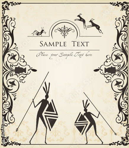 Ancient African Symbols Vector Background Stock Image And Royalty