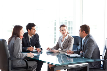 Businessmen and businesswomen talking during a meeting