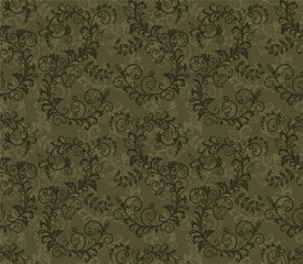 Seamless khaki green foliage pattern