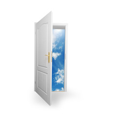 Door to new world. Hope, success, new way concepts
