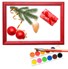 christmas presents in wood frame