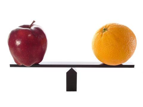 Metaphor compairing Apples to Oranges Balanced on beam