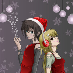 Cute Santa girl and boy with snowflake background - Anime Style