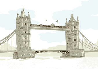 Hand drawn vector illustration of Tower Bridge, London.