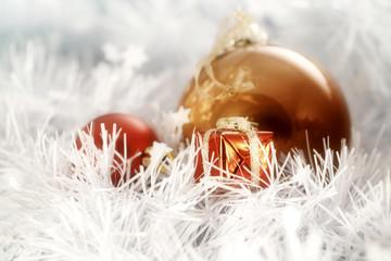 Christmas balls whit litle decorating box on white   greeting