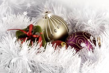 Christmas balls and box arrangement   greeting card photograph