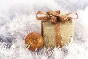 Gold Christmas Box and ball | Christmas greeting