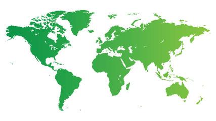 Poster Carte du monde Green World map