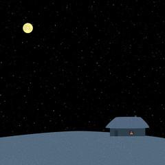 Poster Full moon Winter starry night