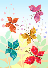 Vector illustration of stylized butterflies