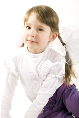 Photo of a little girl over white