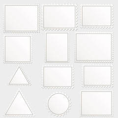 Vector big set of blank postage stamps different geometric shape