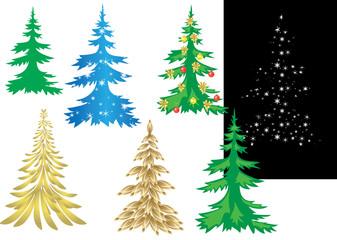 set of vector creative christmas trees