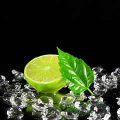 Lime on a black background