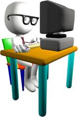 Nerd genius computer user 3D PC monitor desk