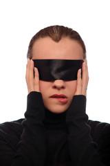 woman with black stripe on eyes