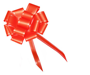 Red satin bow for wraping gifts isolated on white