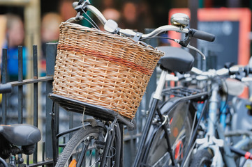 Bicycle with wicker basket