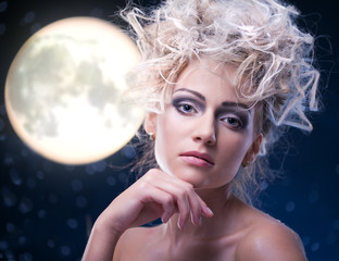 beauty woman  under moon