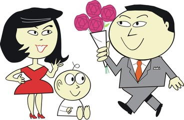 Asian family flower cartoon
