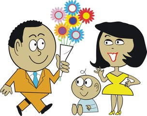 Man with wife and baby cartoon