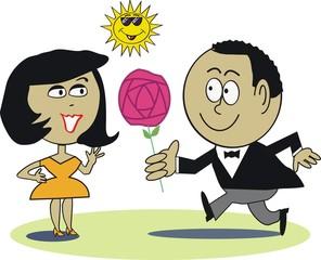 Man giving rose to woman cartoon
