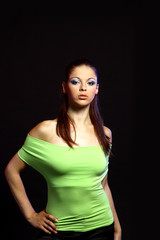 Beautiful caucasian woman with beauty brown hairs -