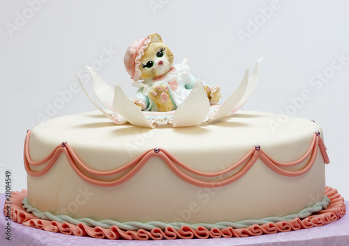 Birthday cake with small cute kitten Stock photo and royaltyfree