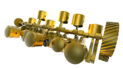 V12 GOLD Internal combustion engine 3D