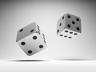 Falling metal dices. Game concept.