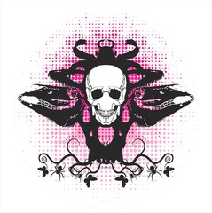 symmetrical composition with a skull on a pink background