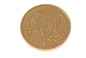 fifty cents euro coin on isolated