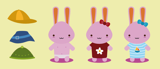 set of three bunnies for changes clothes
