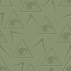 Eye in triangle. Seamless background