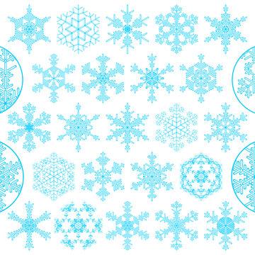 set of decorative snowflakes, vector