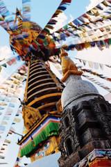 Architecture fragment of stupa, Kathmandu, Nepal