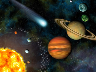 Wall Mural - 3D Solar System Wallpaper contains the Sun and nine planets.