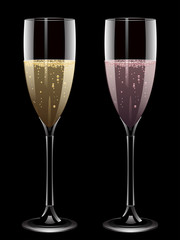 champagne and pink champagne