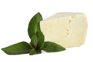 Brynza cheese with basil