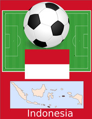 Indonesia soccer football world flag map
