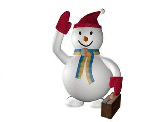 3d smiling snow man