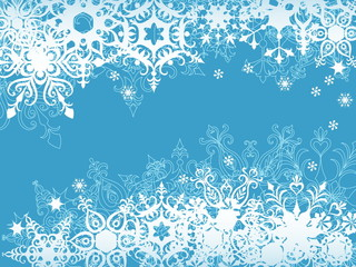 blue snowflake background, vector illustration