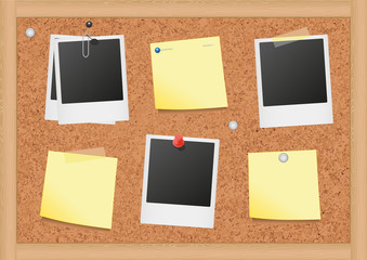 Vector illustration of a bulletin board with notes & photos.