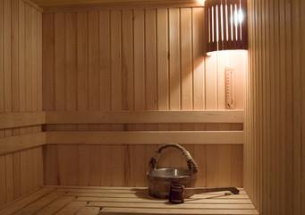 Interior of a sauna . Advantage for health.